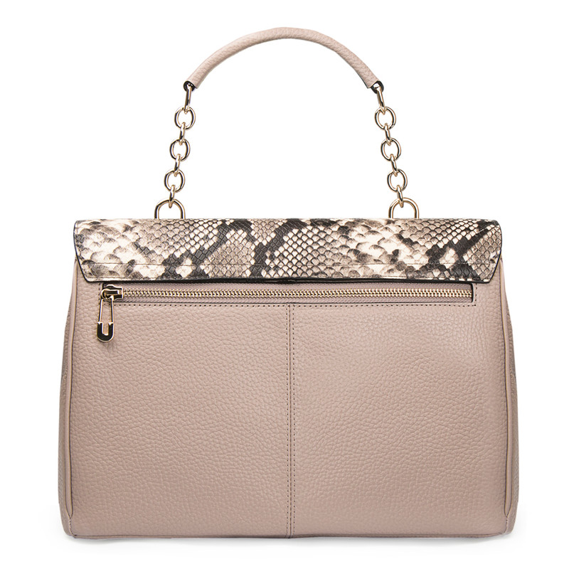 Taupe Grained Leather Structured Satchel Bag Lausanne YT 5338017 TPZ | TJ COLLECTION | Side Image - 4
