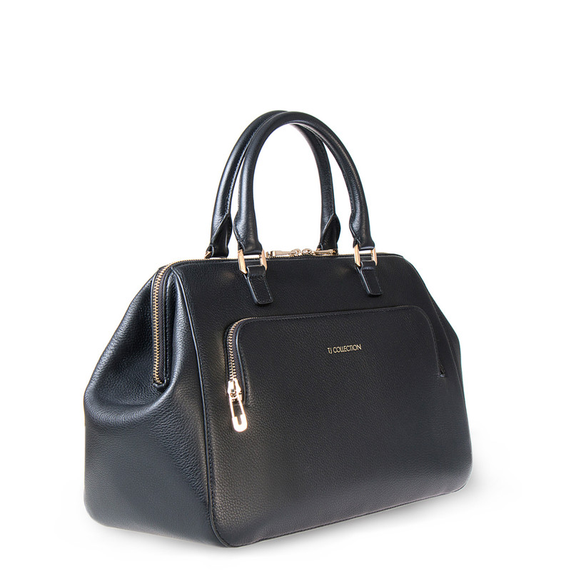 Black Grained Leather Doctor Bag XT 5449016 BLI | TJ COLLECTION | Side Image - 1