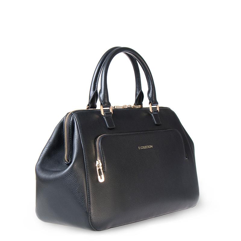 Black Grained Leather Doctor Bag XT 5449016 BLI | TJ COLLECTION | Side Image - 1