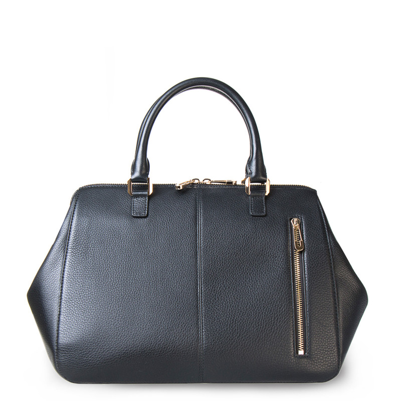 Black Grained Leather Doctor Bag XT 5449016 BLI | TJ COLLECTION | Side Image - 2