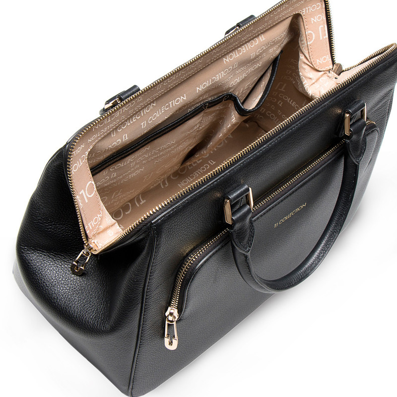 Black Grained Leather Doctor Bag XT 5449016 BLI | TJ COLLECTION | Side Image - 3