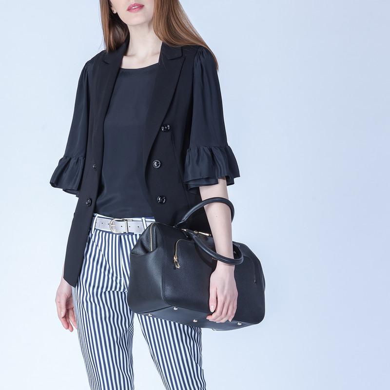 Black Grained Leather Doctor Bag XT 5449016 BLI | TJ COLLECTION | Side Image - 4