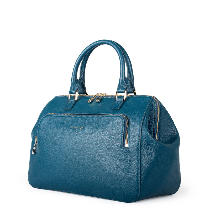 Teal Grained Leather Doctor Bag XT 5449017 GNI | TJ COLLECTION | Side Image - 1