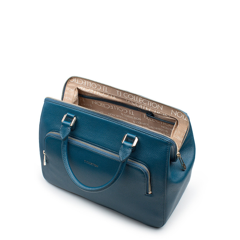 Teal Grained Leather Doctor Bag XT 5449017 GNI   TJ COLLECTION   Side Image - 3
