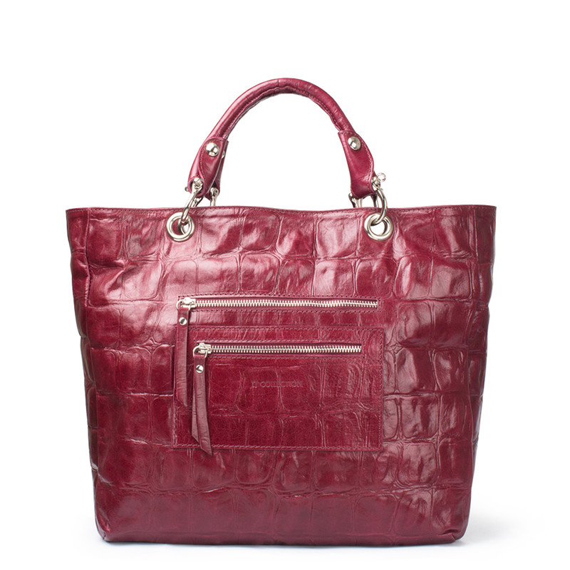 Bordeaux Reptile Embossed Leather Tote Bag Florence YG 5481314 BDC