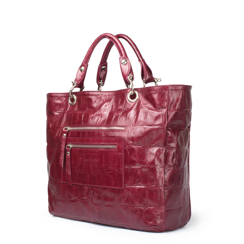 Bordeaux Reptile Embossed Leather Tote Bag Florence YG 5481314 BDC | TJ COLLECTION | Side Image - 1