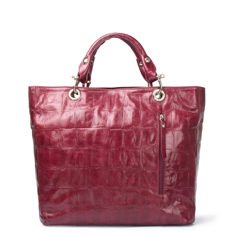 Bordeaux Reptile Embossed Leather Tote Bag Florence YG 5481314 BDC | TJ COLLECTION | Side Image - 2
