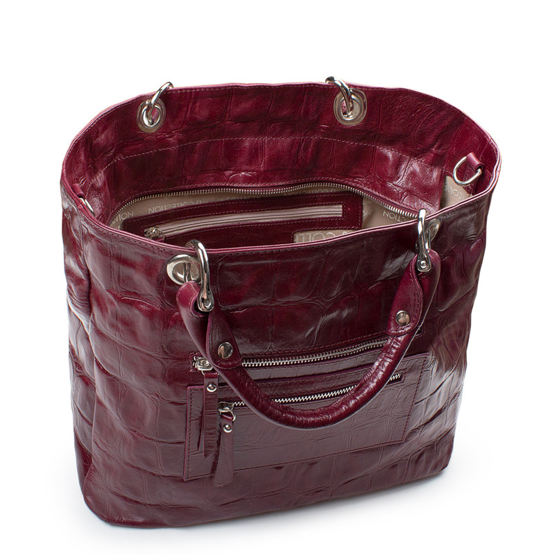 Bordeaux Reptile Embossed Leather Tote Bag Florence YG 5481314 BDC | TJ COLLECTION | Side Image - 3