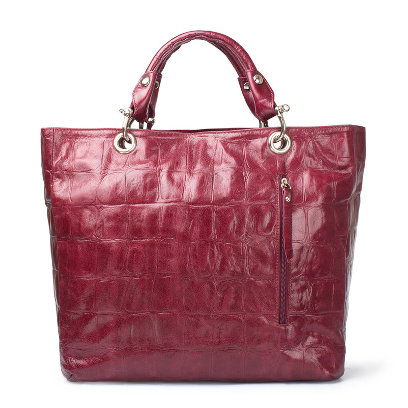Bordeaux Reptile Embossed Leather Tote Bag Florence YG 5481314 BDC | TJ COLLECTION | Side Image - 4