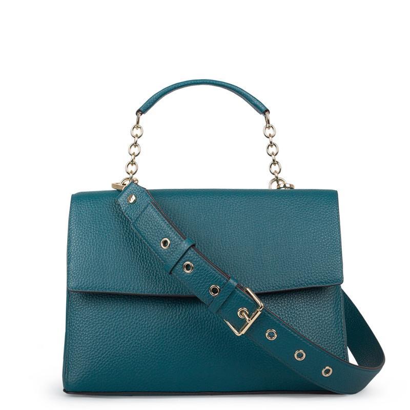 Structured Green Leather Satchel Bag Lausanne YT 5338018 DGN