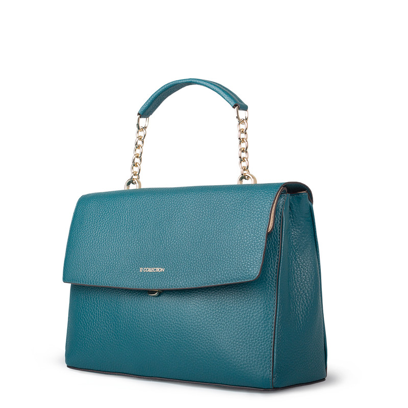Structured Green Leather Satchel Bag Lausanne YT 5338018 DGN | TJ COLLECTION | Side Image - 1
