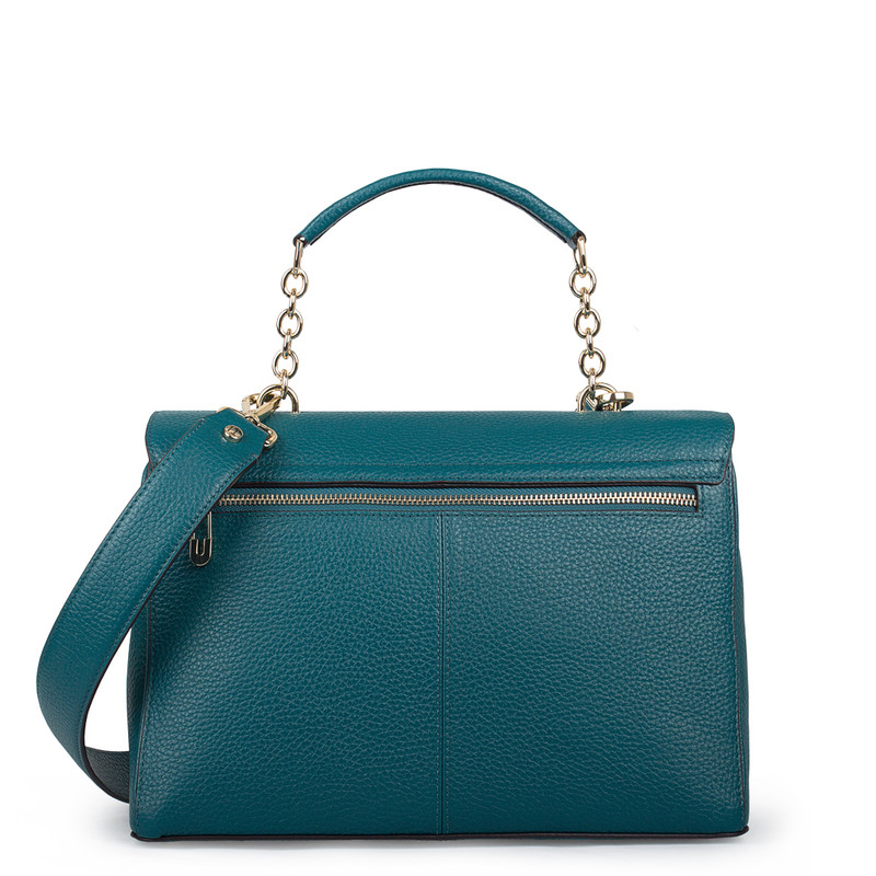 Structured Green Leather Satchel Bag Lausanne YT 5338018 DGN | TJ COLLECTION | Side Image - 2
