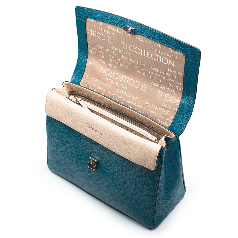 Structured Green Leather Satchel Bag Lausanne YT 5338018 DGN | TJ COLLECTION | Side Image - 3