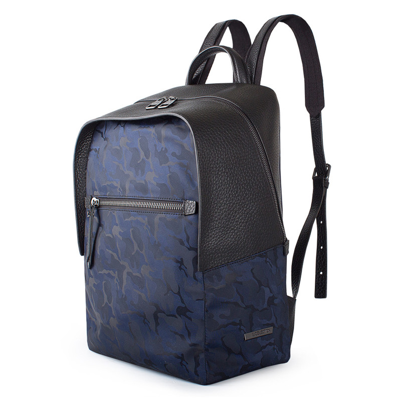 Grained Leather and Military Print Nylon Amsterdam Backpack YT 8468838 BLU | TJ COLLECTION | Side Image - 1
