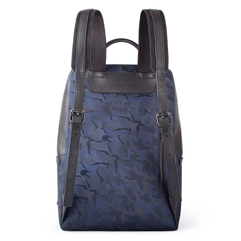Grained Leather and Military Print Nylon Amsterdam Backpack YT 8468838 BLU | TJ COLLECTION | Side Image - 2