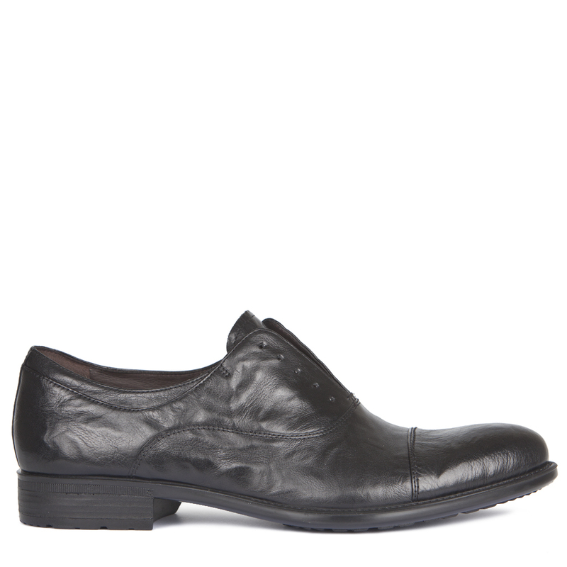 Men's Distressed Leather Slip-On Oxford Shoes MP 7294918 BLA