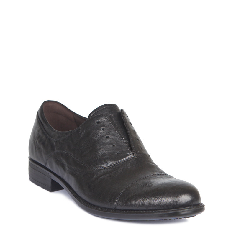 Black Washed Leather Casual Oxford Shoes | TJ COLLECTION | Side Image - 1