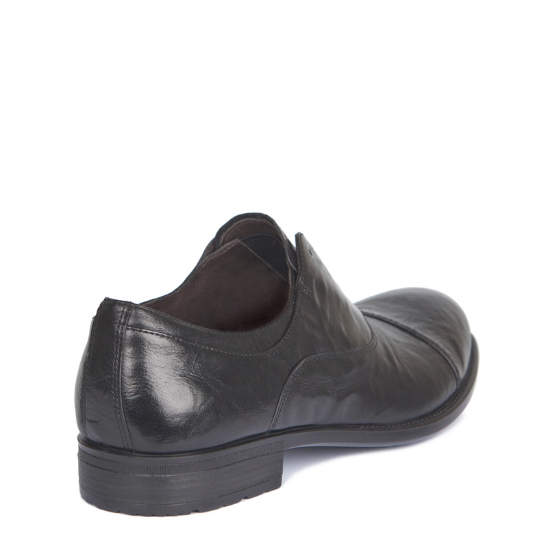 Black Washed Leather Casual Oxford Shoes | TJ COLLECTION | Side Image - 2