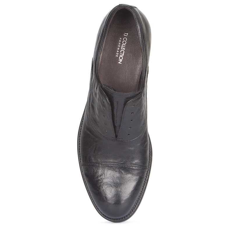 Black Washed Leather Casual Oxford Shoes | TJ COLLECTION | Side Image - 3