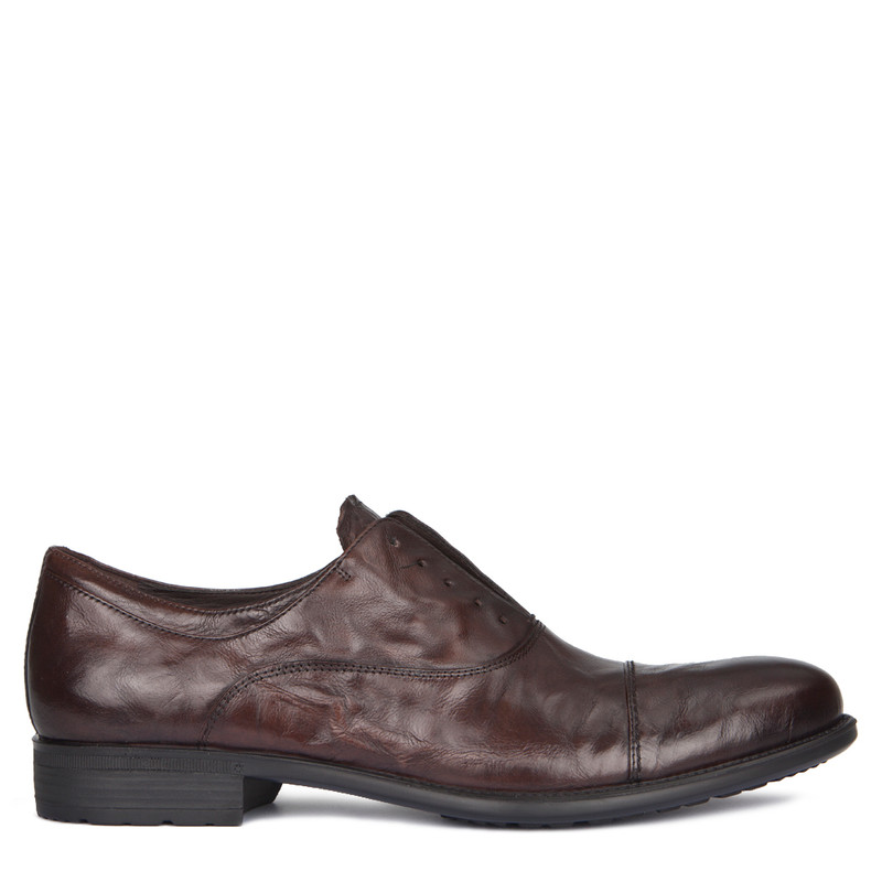 Men's Brown Washed Leather Slip-On Oxford Shoes MP 7294918 DBA