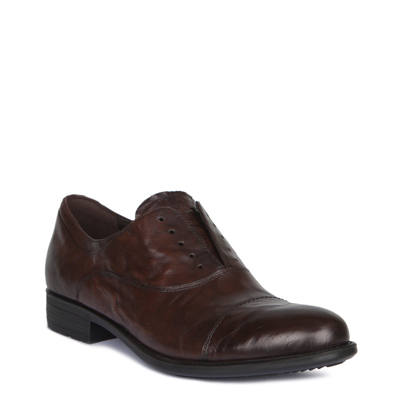 Brown Washed Leather Casual Oxford Shoes | TJ COLLECTION | Side Image - 1