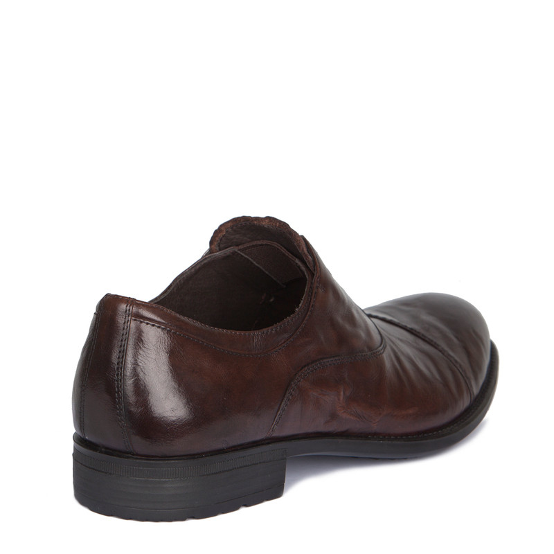 Brown Washed Leather Casual Oxford Shoes | TJ COLLECTION | Side Image - 2