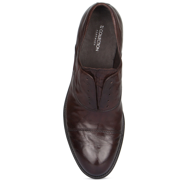 Brown Washed Leather Casual Oxford Shoes | TJ COLLECTION | Side Image - 3