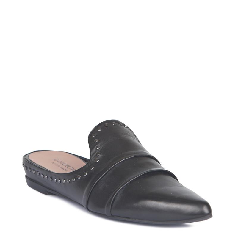 Black Leather Studs Trim Slides | TJ COLLECTION | Side Image - 1