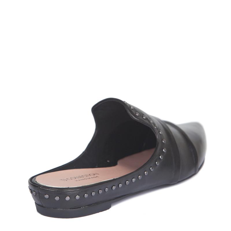 Black Leather Studs Trim Slides | TJ COLLECTION | Side Image - 2