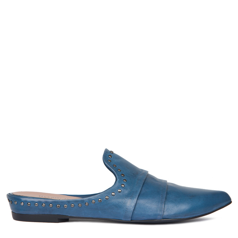 Blue Leather Studs Trim Slides | TJ COLLECTION | Main Image