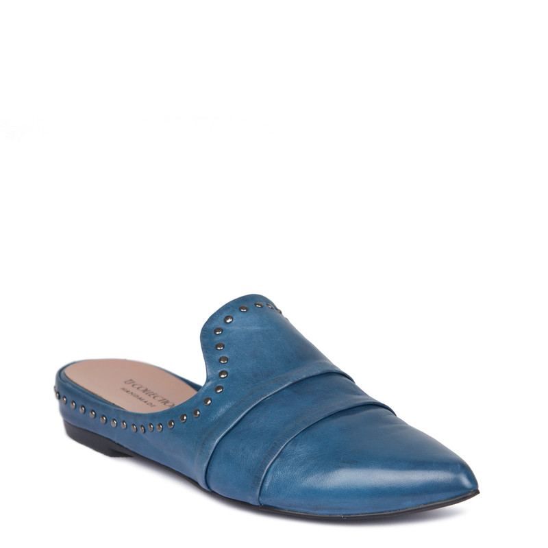 Blue Leather Studs Trim Slides | TJ COLLECTION | Side Image - 1