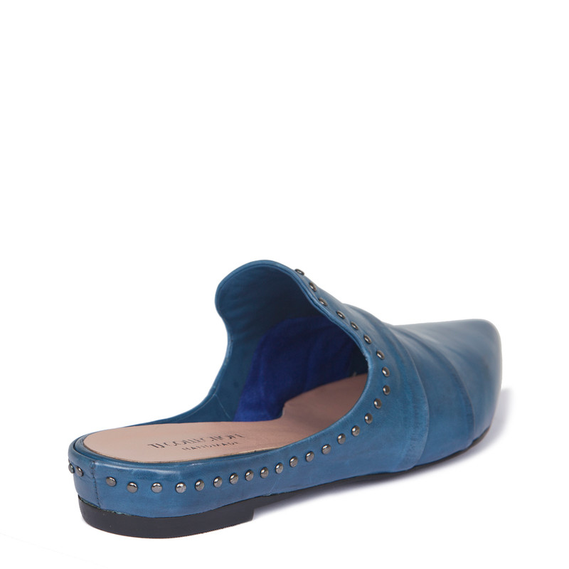 Blue Leather Studs Trim Slides | TJ COLLECTION | Side Image - 2