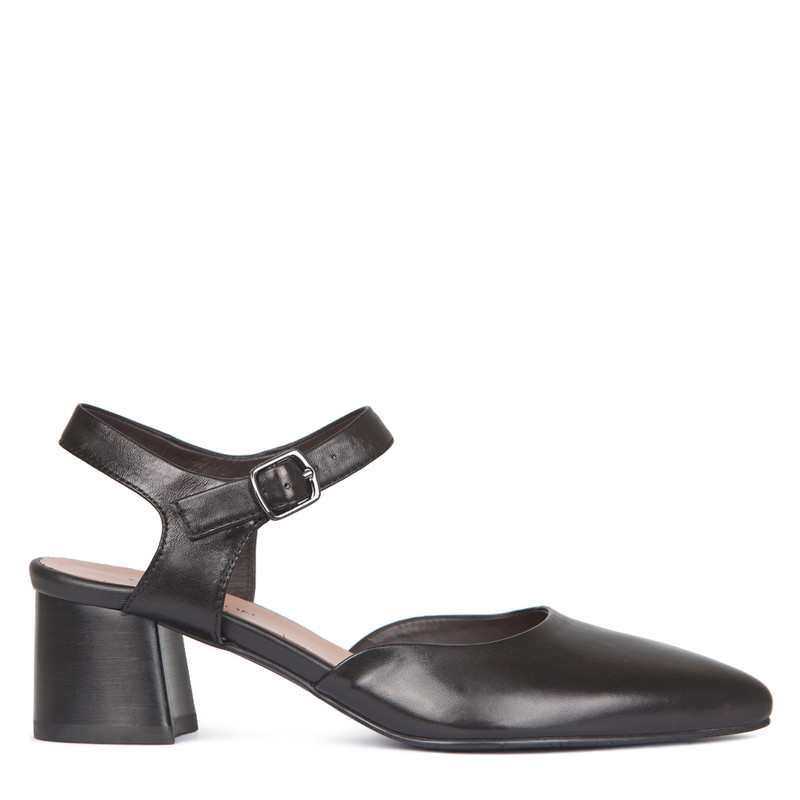 Black Leather Block Heel Pumps | TJ COLLECTION | Main Image