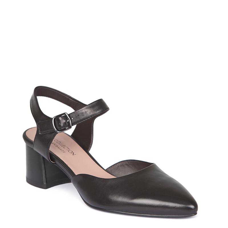 Black Leather Block Heel Pumps | TJ COLLECTION | Side Image - 1