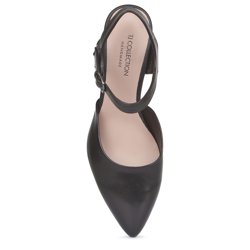 Black Leather Block Heel Pumps | TJ COLLECTION | Side Image - 3