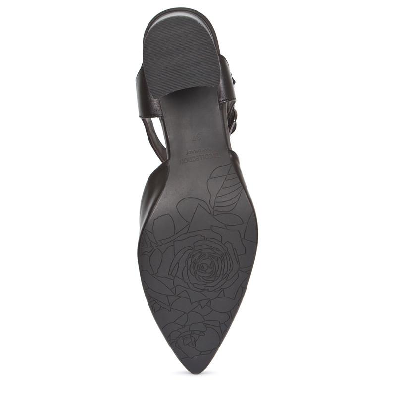 Black Leather Block Heel Pumps | TJ COLLECTION | Side Image - 4