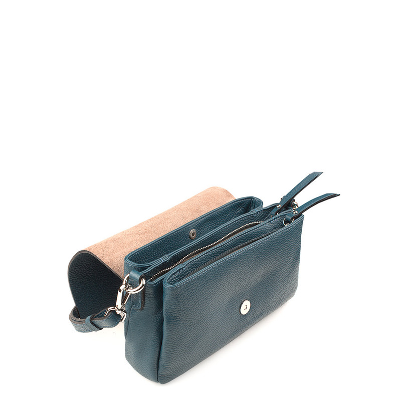 Turquoise Grained Leather Shoulder Bag Saint-Tropez YG 5152618 DGN | TJ COLLECTION | Side Image - 3
