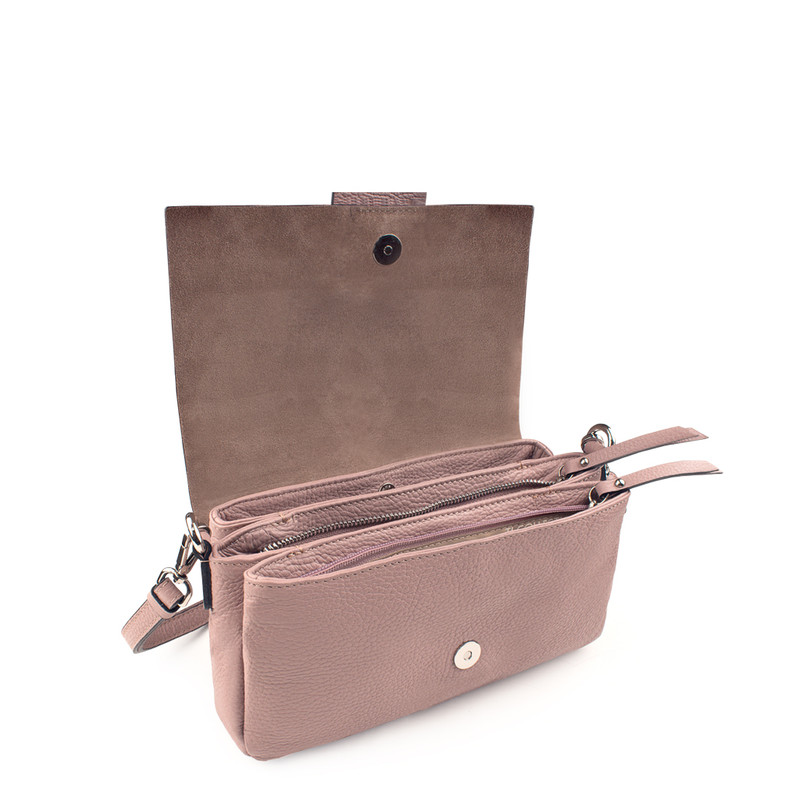 Pink Grained Leather Shoulder Bag Saint-Tropez YG 5152618 PNA | TJ COLLECTION | Side Image - 3