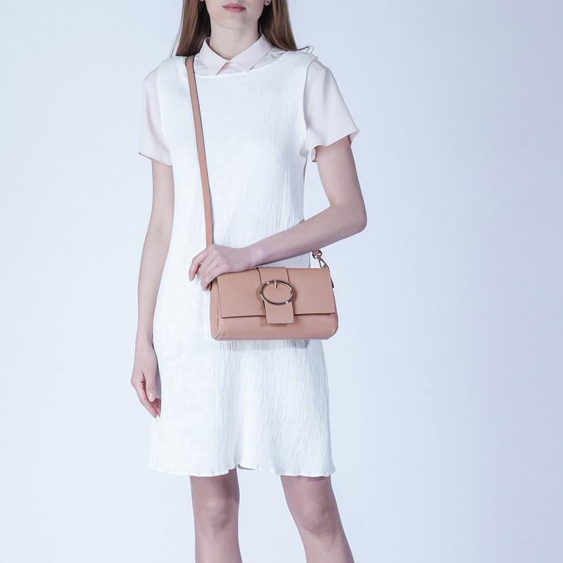 Pink Grained Leather Shoulder Bag Saint-Tropez YG 5152618 PNA | TJ COLLECTION | Side Image - 4