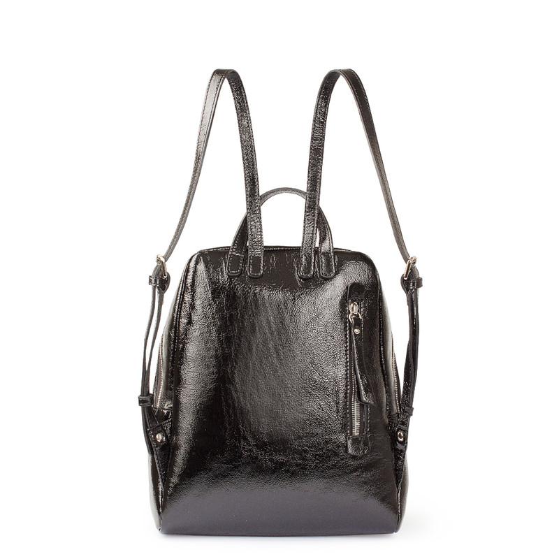 Black Patent Cracked Leather Soho Backpack YG 5320818 BLP   TJ COLLECTION   Side Image - 2
