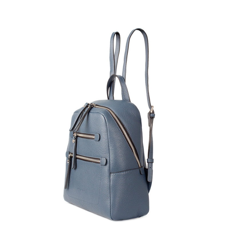Blue Grained Leather Soho Backpack YG 5320818 BUZ | TJ COLLECTION | Side Image - 1