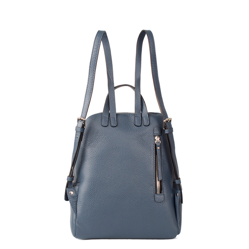 Blue Grained Leather Soho Backpack YG 5320818 BUZ | TJ COLLECTION | Side Image - 2