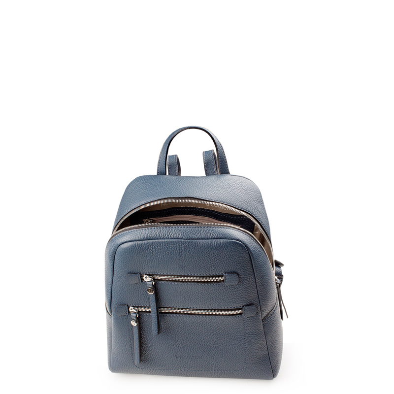 Blue Grained Leather Soho Backpack YG 5320818 BUZ | TJ COLLECTION | Side Image - 3