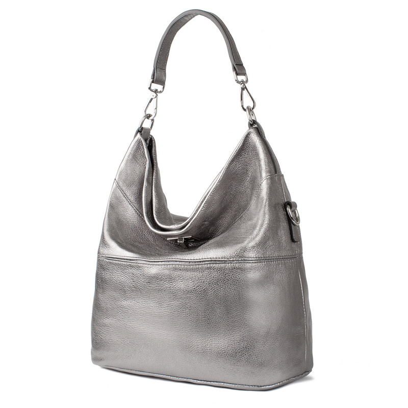 Metallic Leather Bologna Boho Bag YG 5355818 PLZ | TJ COLLECTION | Side Image - 1