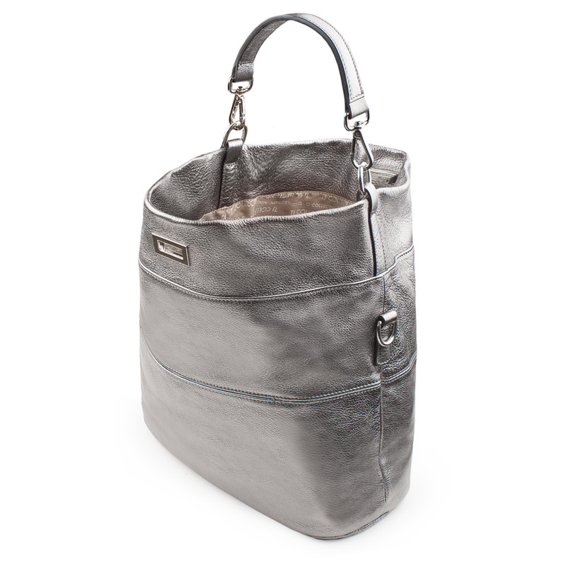 Metallic Leather Bologna Boho Bag YG 5355818 PLZ   TJ COLLECTION   Side Image - 3