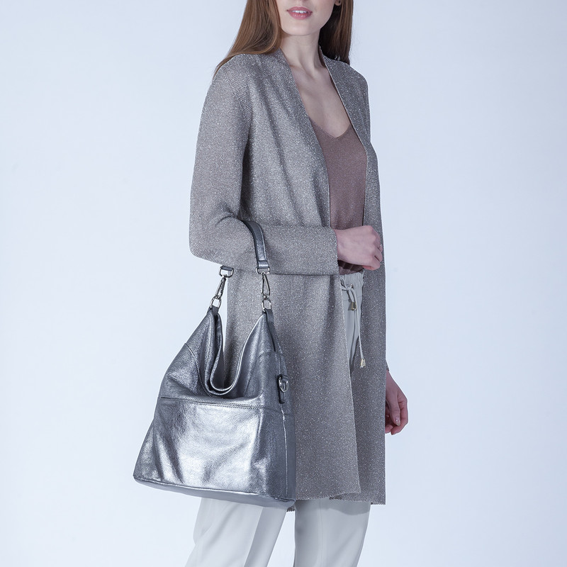 Metallic Leather Bologna Boho Bag YG 5355818 PLZ   TJ COLLECTION   Side Image - 4