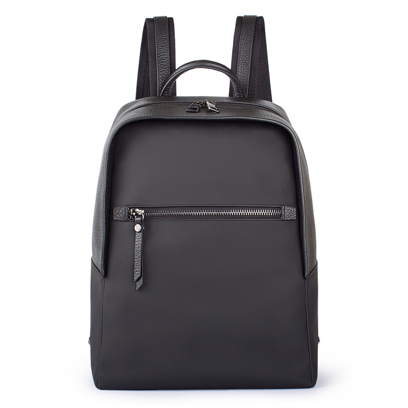 Black Grained Leather and Nylon Amsterdam Backpack YT 8468838 BLN