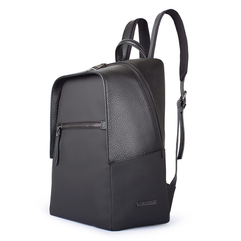 Black Grained Leather and Nylon Amsterdam Backpack YT 8468838 BLN | TJ COLLECTION | Side Image - 1