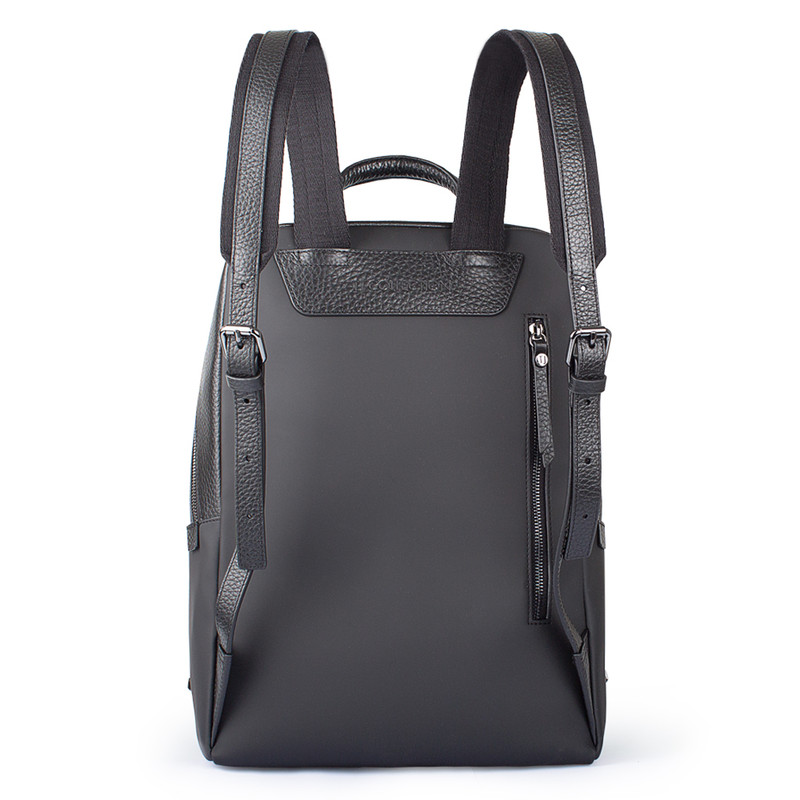 Black Grained Leather and Nylon Amsterdam Backpack YT 8468838 BLN | TJ COLLECTION | Side Image - 2