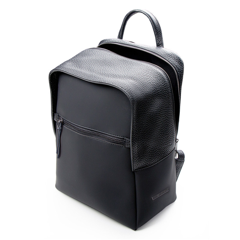 Black Grained Leather and Nylon Amsterdam Backpack YT 8468838 BLN | TJ COLLECTION | Side Image - 3